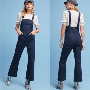 Anthro Pilcro denim wide leg overalls
